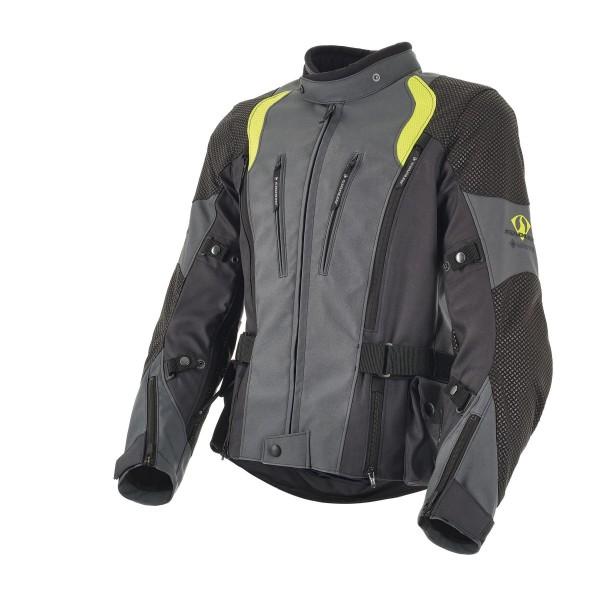 Stadler - Superior Active Damen Motorradjacke Grau / Anthrazit / Neongelb / Schwarz