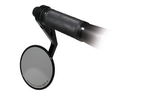 Universal Lenkerendenspiegel MONTANA, rund, Aluminium Kopf schwarz eloxiert, für 1 Zoll (2