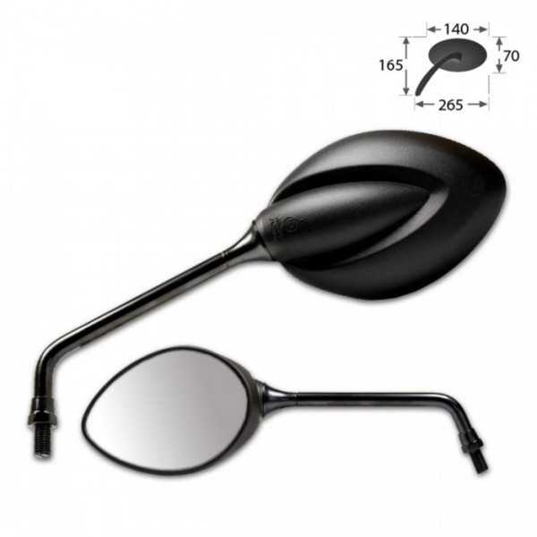 """HS Universalspiegel """"Strato"""", schwarz, ABS, Paar, 2 x M10-R, Maße: 140 x 70 mm, E-geprüft"""